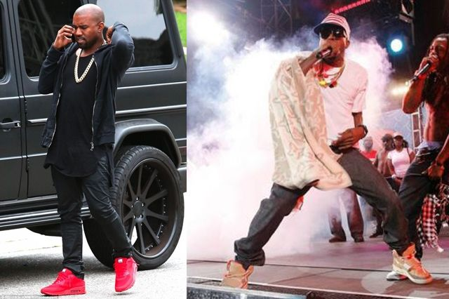 Kanye West Sneaker Style Am90 Red And Yeezy 1