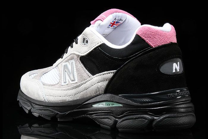 New Balance 991 9 Grey Black Pink Heel Angle Shot 2