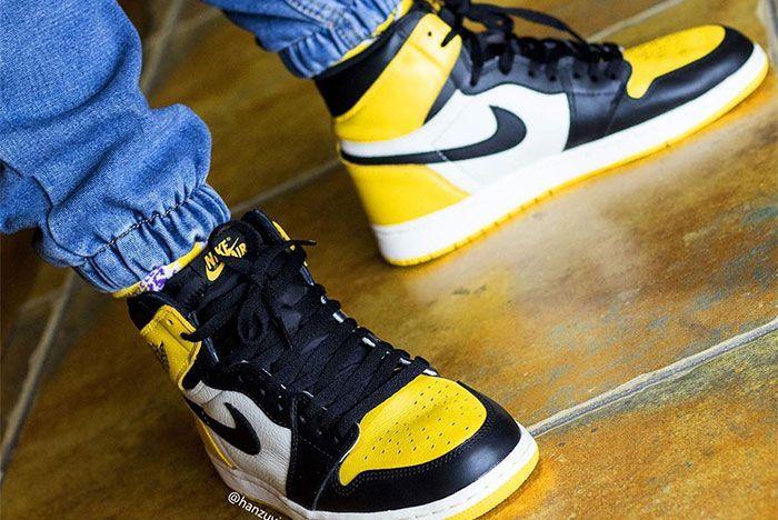 Air Jordan 1 Yellow Toe On Foot