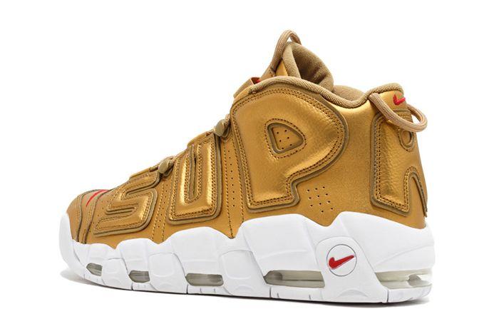 Supreme X Nike Air More Uptempo Metallic Gold3