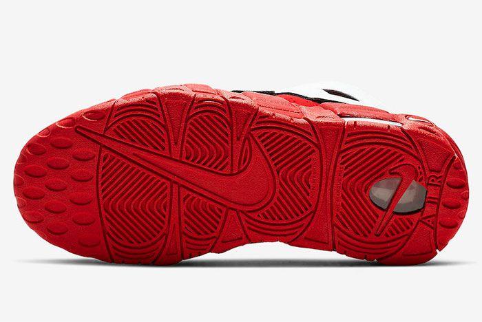 Nike More Uptempo Red White Black Chicago Bulls Cd9402 600 Sole Shot 2