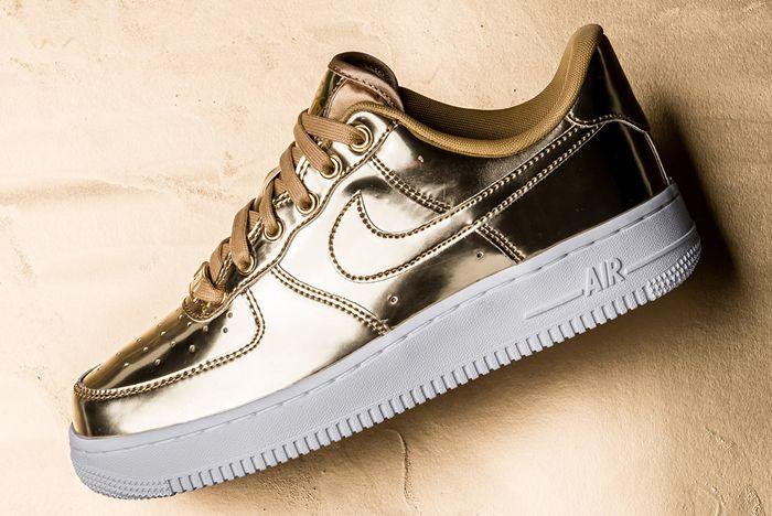 Nike Air Force 1 Liquid Metal Gold Side