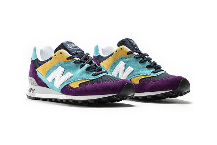 New Balance 577 Made In England Purple Blue Yellow Black Front Angle