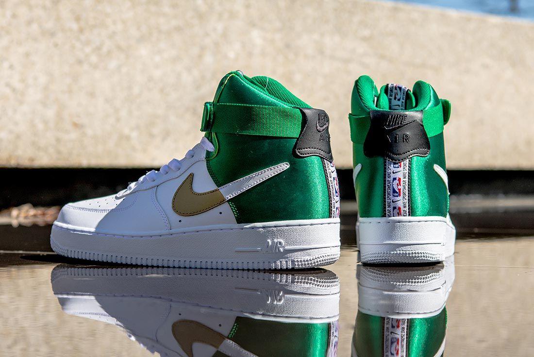 Nike Nba Air Force 1 High White Gold Green Heel