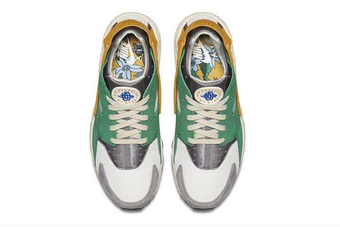 Nike Air Huarache Pine Green Gold Leaf 2