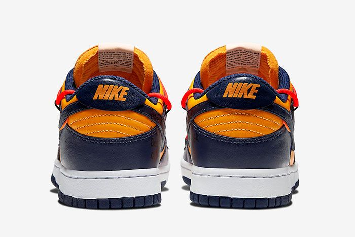 Off White Nike Dunk Low Gold Navy Ct0856 700 Heel