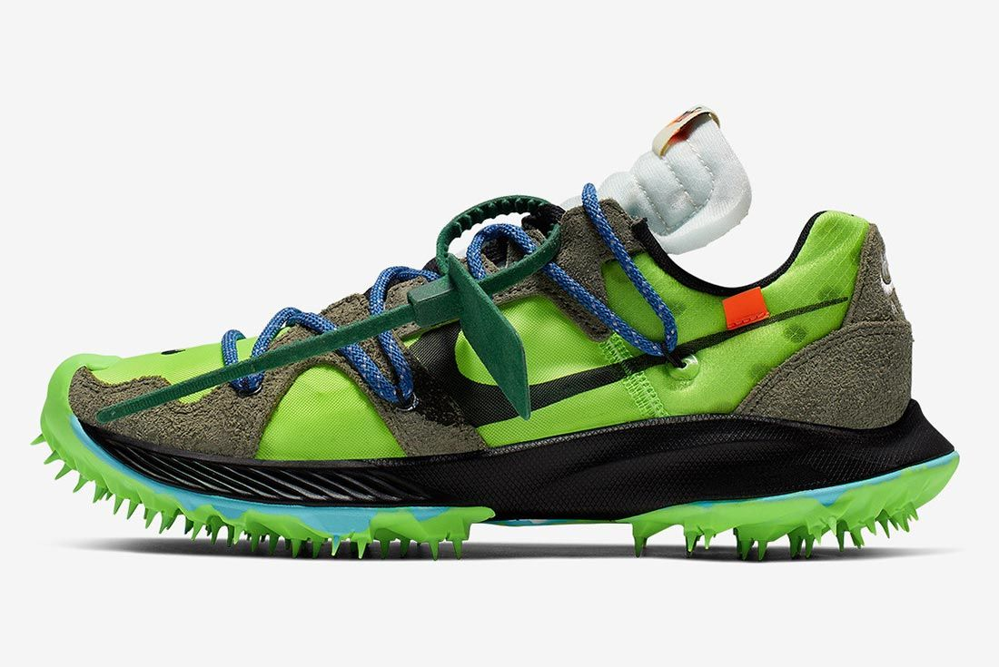 Off White Nike Zoom Terra Kiger 5 Green Cd8179 300 Lateral Side Shot