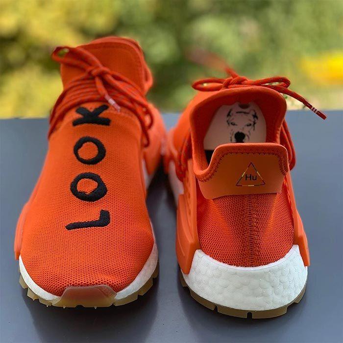 Pharrell Adidas Hu Nmd Look Inside Orange Front Back