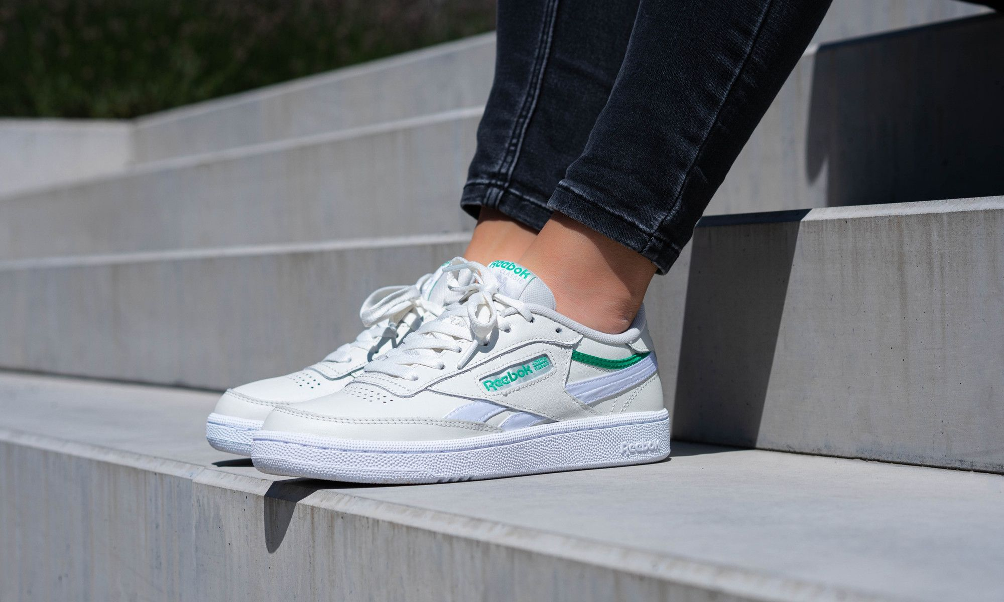 Reebok Club C On Foot Angled