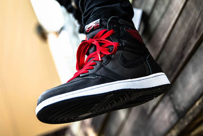 Air Jordan 1 Black Satin On Foot1