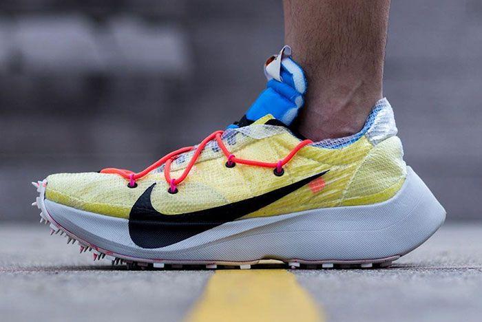 Off White Nike Vapor Street Yellow On Foot Left Side Shot