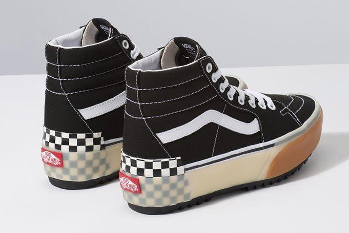 Vans Stacked Platform Skate High Black Three Quarter Heel Shot