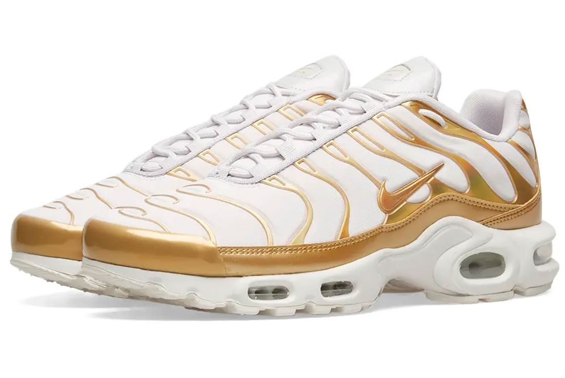 Nike Air Max Plus Gold White Pair Shot