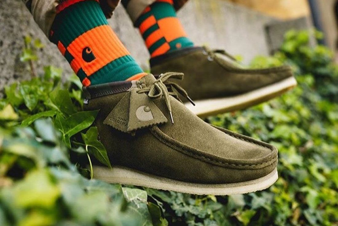 Clarks Wallabee Carhartt Green On Foot Lateral Side Shot