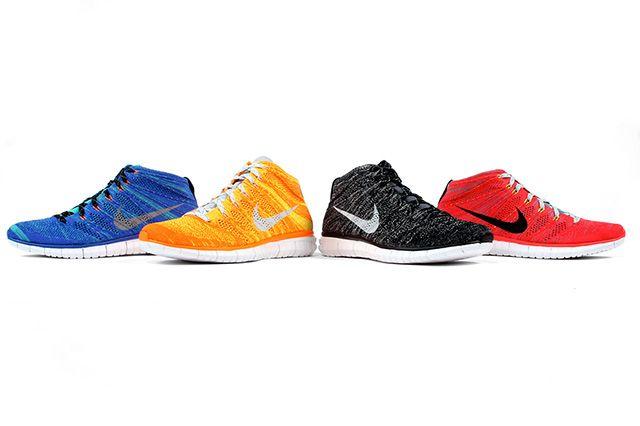 Nike Free Flyknit Chukka Bright Crimson Mineral Blue 1