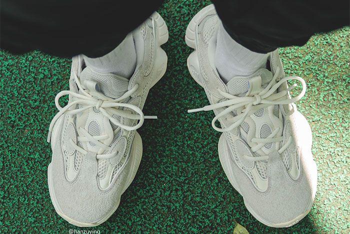 Adidas Yeezy Boost 500 Bone White On Foot Top