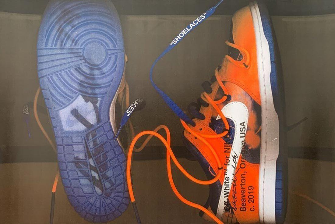 Virgil Abloh Nike Dunk Orange Lateral Sole Side Shot