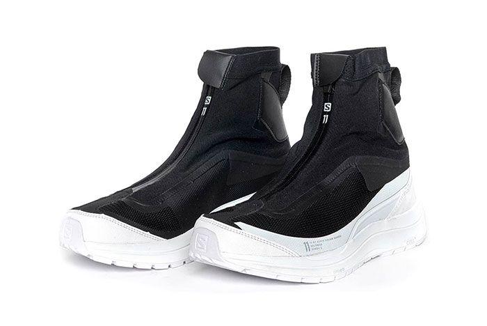 11 By Boris Bidjan Saberi X Salomon Spring Summer 2020 Footwear High Black And White Three Quarter Angle Side Shot