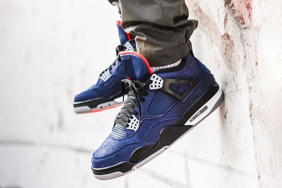 Air Jordan 4 Wntr Blue On Foot Dangle