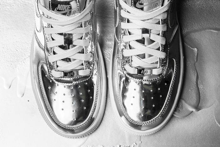 Nike Air Force 1 Liquid Metal Silver Toe Close Up