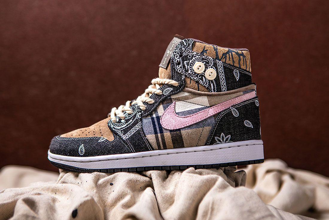 Bespokeind Travis Scott Air Jordan 1 Custom Bandana Sneaker Freaker Hero Shot7