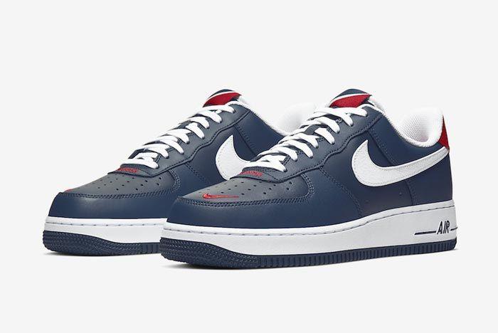 Nike Air Force 1 Blue White Red Pair