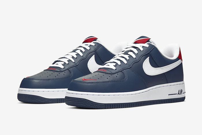Nike Air Force 1 Blue White Red Pair