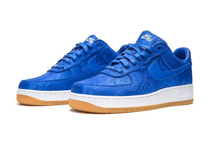 Nike Air Force 1 Clot Blue Silk Front Angle