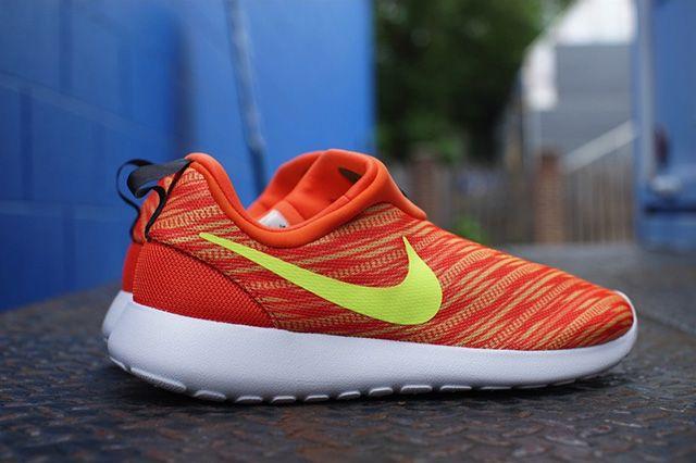 Nike Roshe Run Slip On Electric Orange Atomic Mango