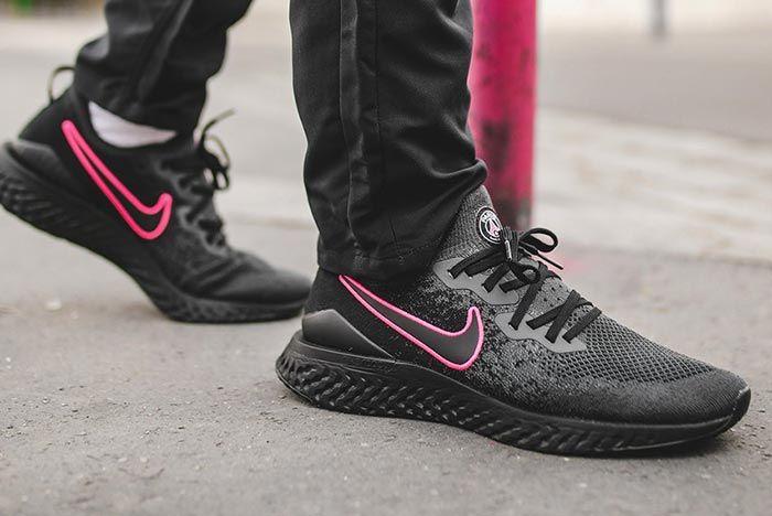 Paris Saint Germain Nike Epic React Flyknit 2 Black Right Side Shot3