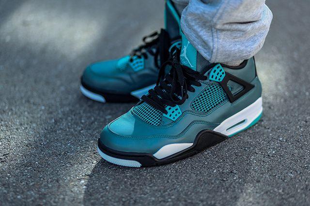 Air Jordan 4 Teal On Foot 5