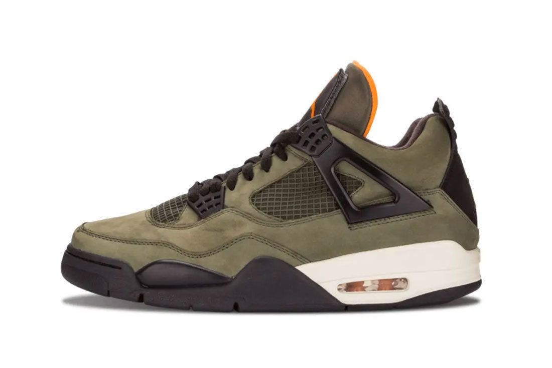 Air Jordan 4 Undefeated Olive Green Black Orange Left