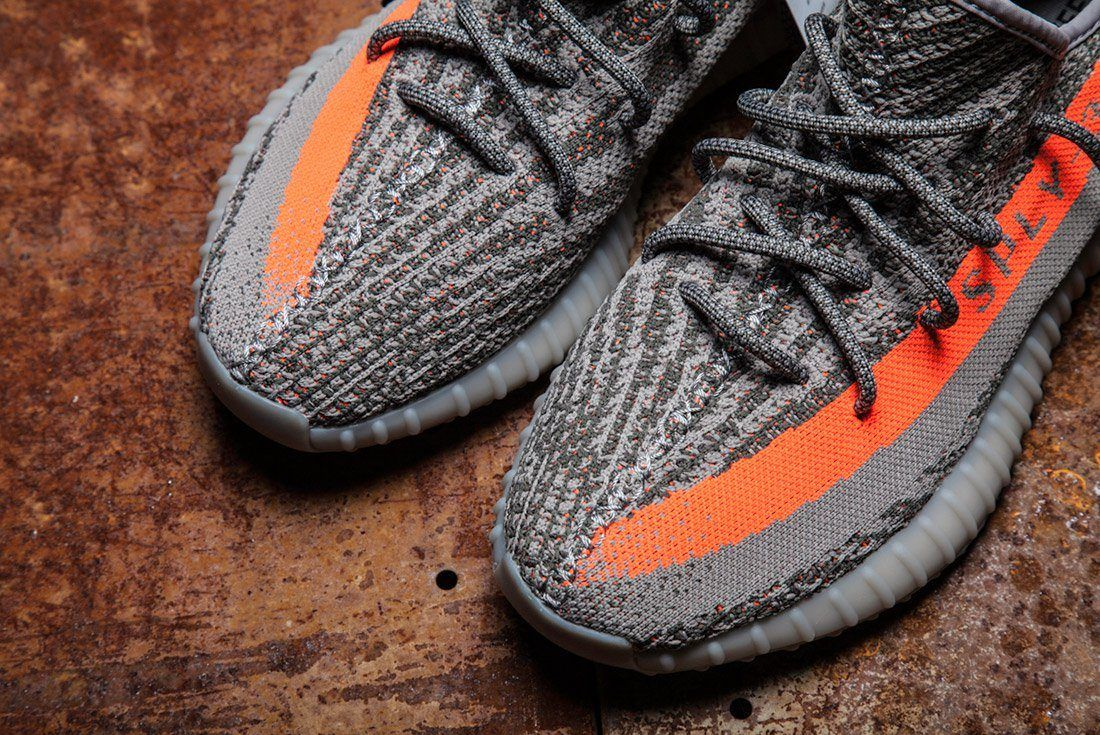 Adidas Yeezy 350 V2 Beluga Grey Orange Close Up 15