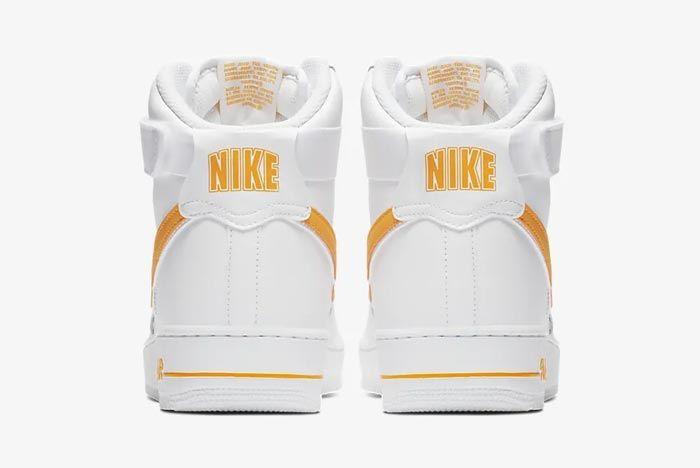 Nike Air Force 1 High White University Gold Heels