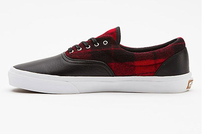 Vans Flannel Era Ca Red Black Profile Side 1