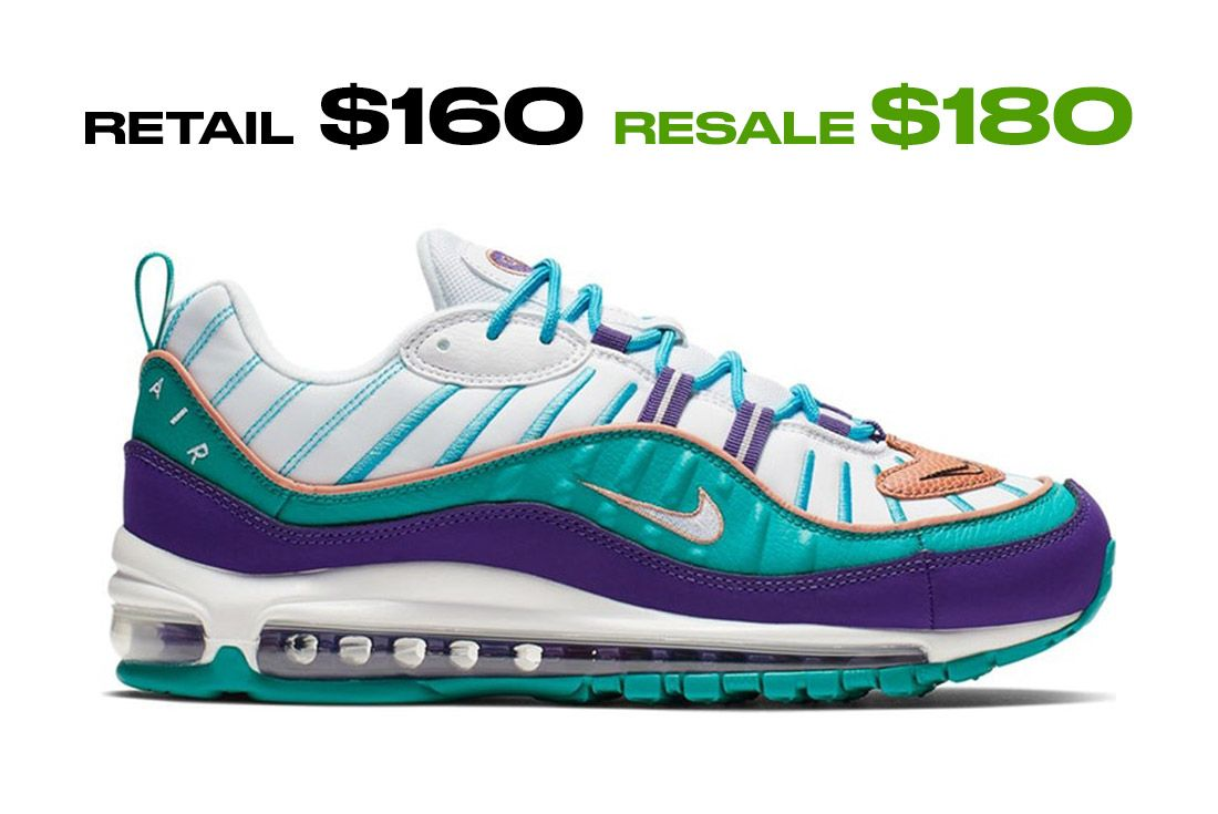 Stockx Resale Nike Air Max 98 Hornets Right Side Shot