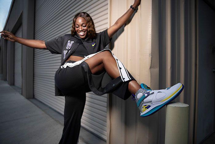 Nike Court Air Jordan 8 White Aqua Sloane Stephens On Foot