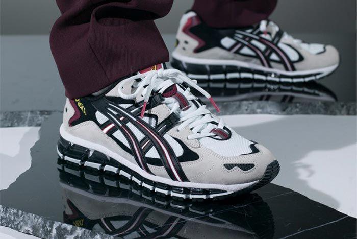 Asics Gel Kayano 360 5 Cherry White On Foot Angled Side Shot