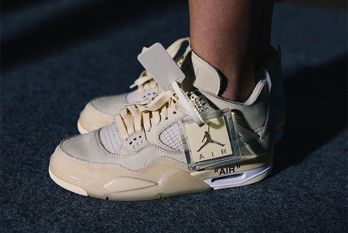 Off White Air Jordan 4 Cream On Foot Left