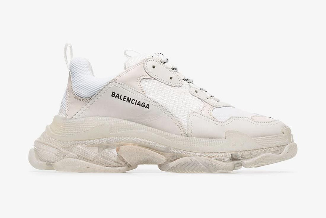 Balenciaga White Triple S Clear Sole Lateral Side Shot