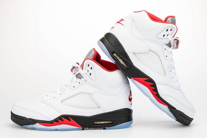 Air Jordan 5 Fire Red Left Side Heel Up