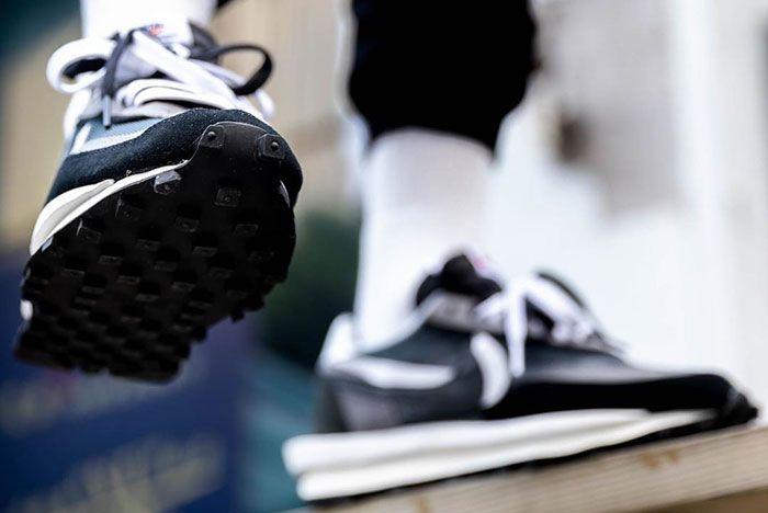 Sacai Nike Ldwaffle Black White Grey On Foot3