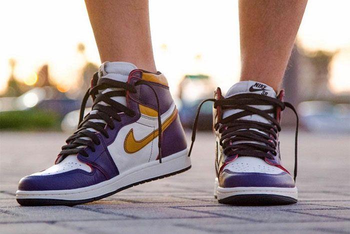 Nike Sb X Air Jordan 1 Lakers Up Close 4