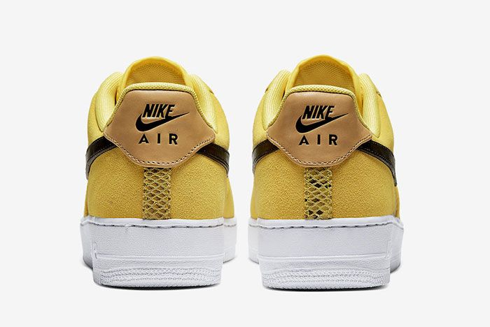Nike Air Force 1 Low Yellow Snakeskin Bq4424 700 Heel