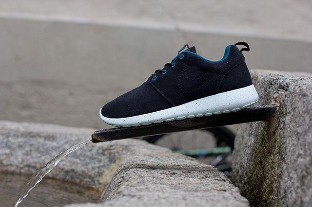 Nike Roshe Run Black Suede Perf Swoosh 2