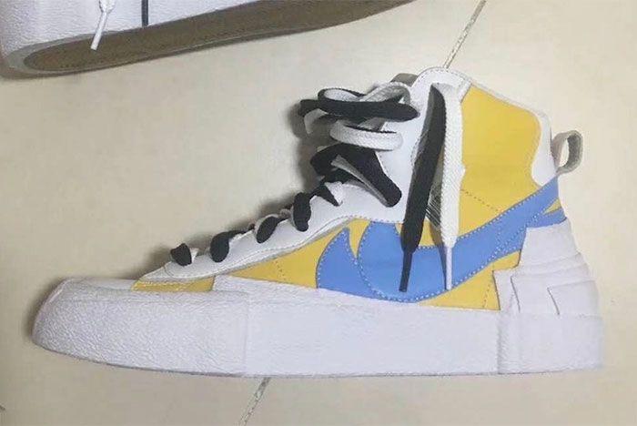 Sacai Nike Blazer White Yellow Blue Leak