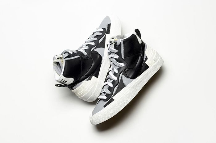 Sacai Nike Blazer Mid Black Grey White First Look Release Date Info Pair