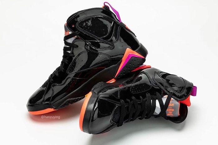 Air Jordan 7 Womens Black Orange Pink Heel 2
