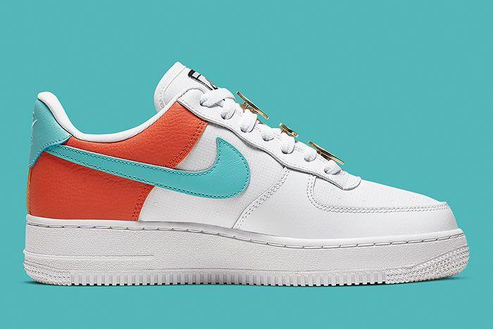 Nike Air Force 1 White Aqua Clay Aa0287 106 Medial