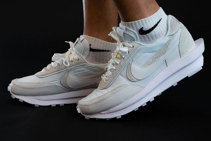 Sacai Nike Ld Waffle White Lateral On Foot Shot